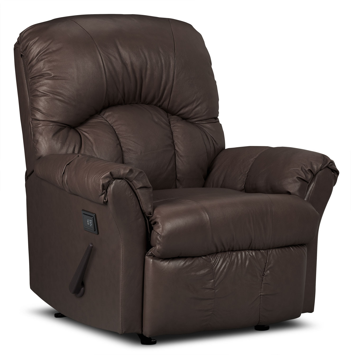 Living Room Furniture - Designed2B Recliner 6734 Bonded Leather Massage Chair - Walnut