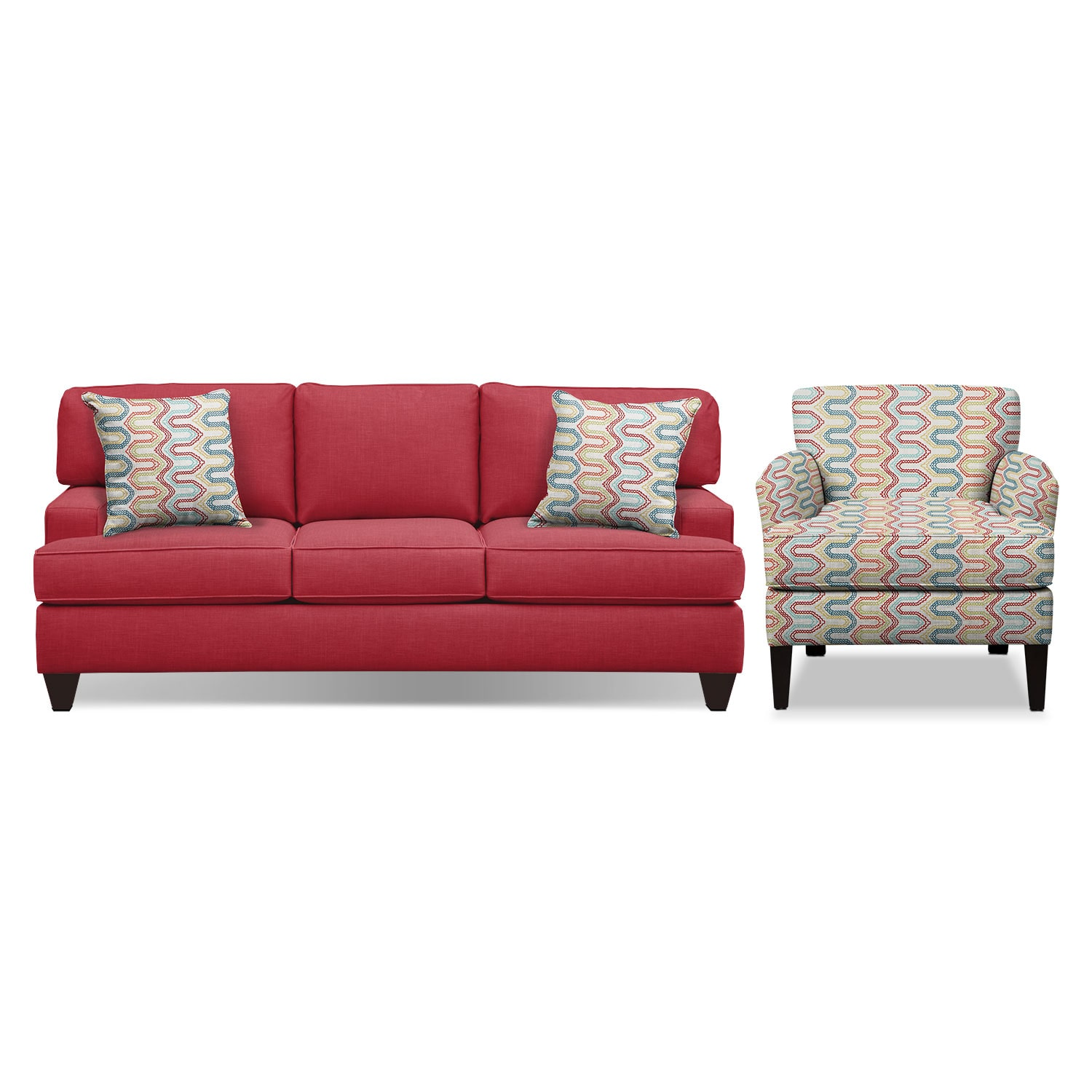 The Conner Red Living Room Collection American Signature Furniture