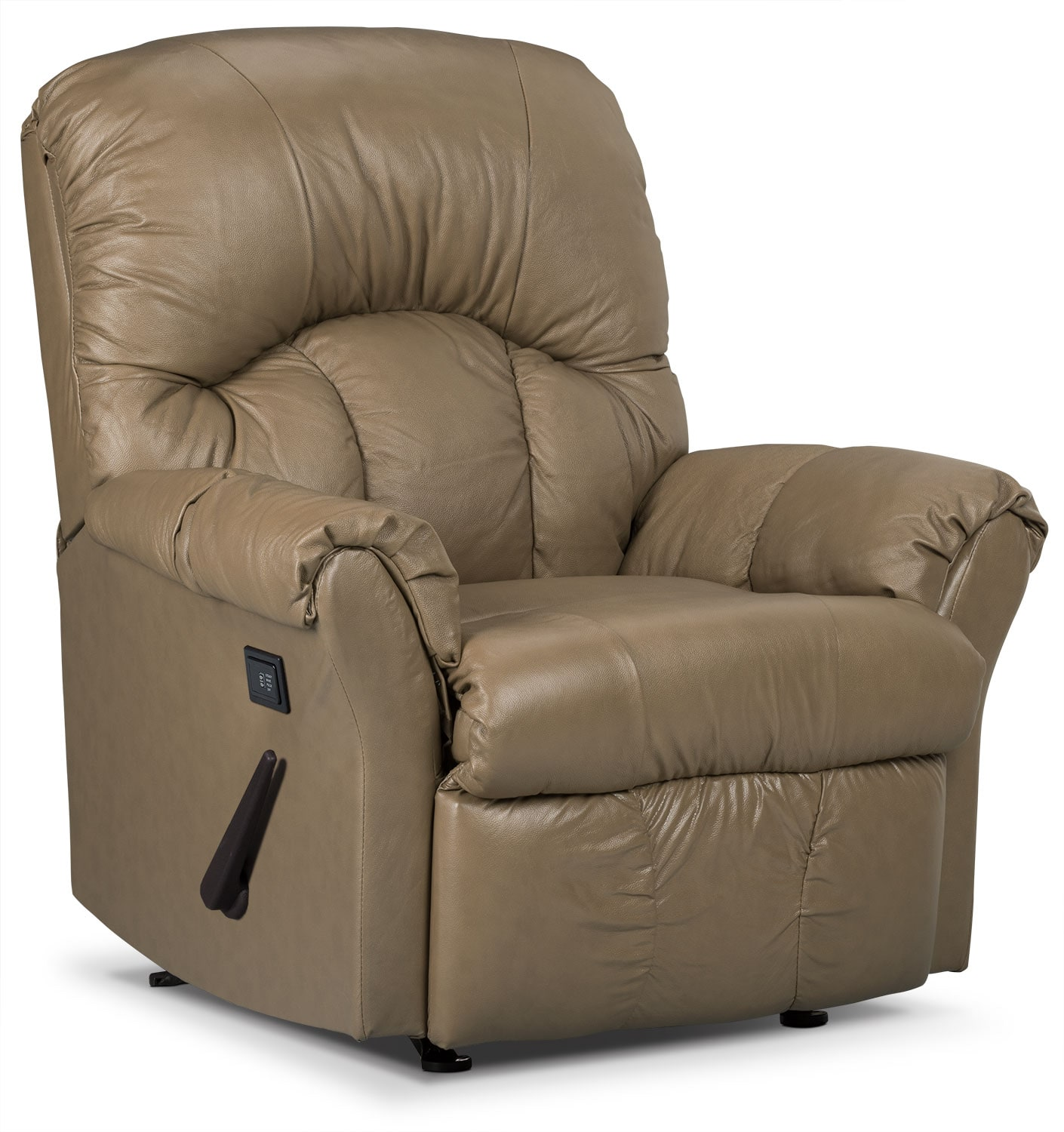 Living Room Furniture - Designed2B Recliner 6734 Genuine Leather Massage Chair - Buff