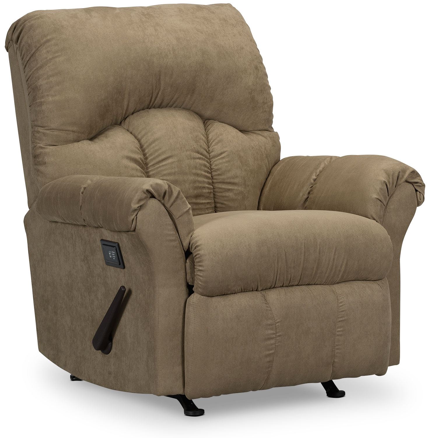 Living Room Furniture - Designed2B Recliner 6734 Microsuede Massage Recliner - Mocha