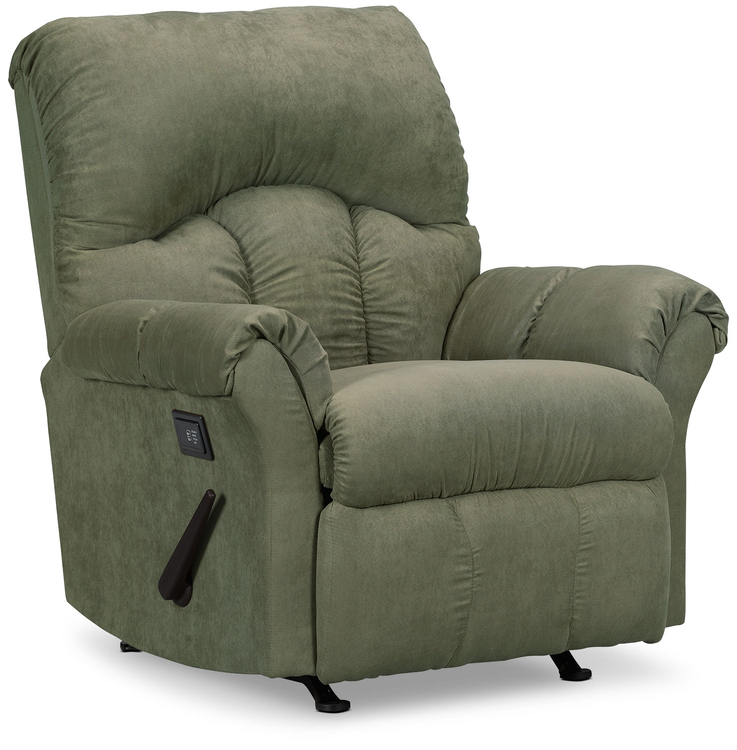 Living Room Furniture - Designed2B Recliner 6734 Microsuede Massage Chair - Fern