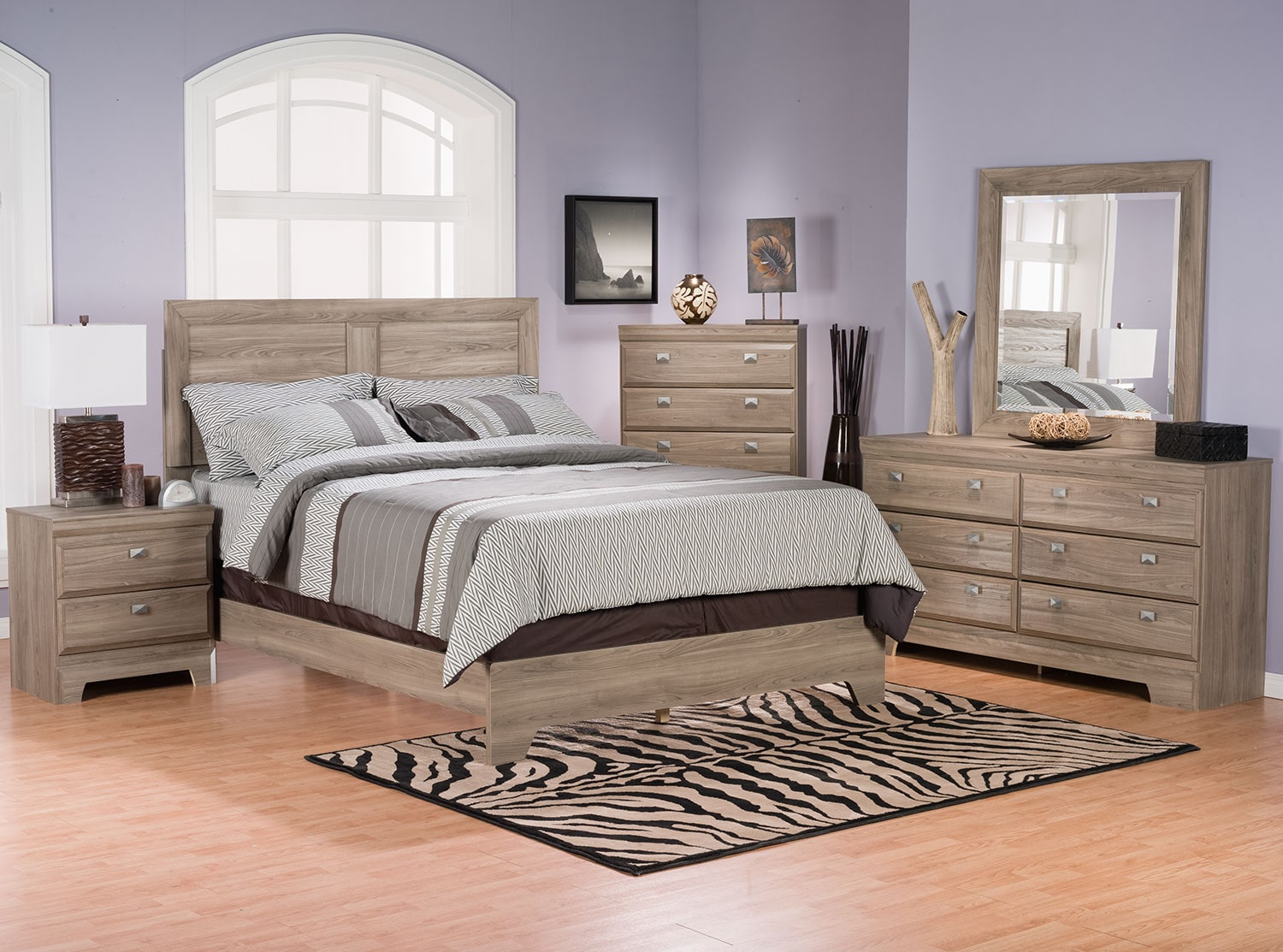 Yorkdale light 8 piece queen panel bedroom package the brick for Bedroom furniture package deals