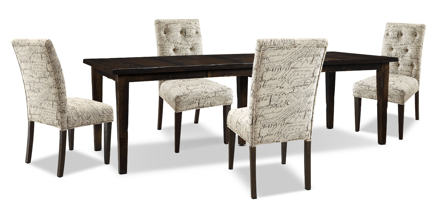 Dining Room Furniture - Bordeaux 5-Piece Dining Package with Script Chairs, Double-Leaf Table – Brown
