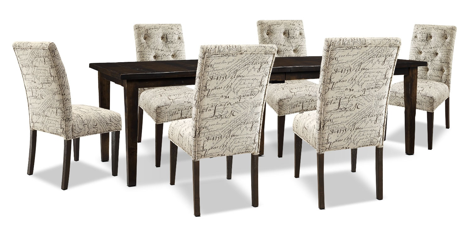 Dining Room Furniture - Bordeaux 7-Piece Dining Package with Script Chairs, Double-Leaf Table – Brown