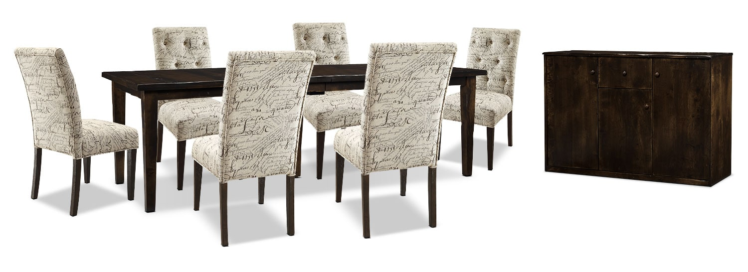 Dining Room Furniture - Bordeaux 8-Piece Dining Package with Script Chairs, Double-Leaf Table – Brown