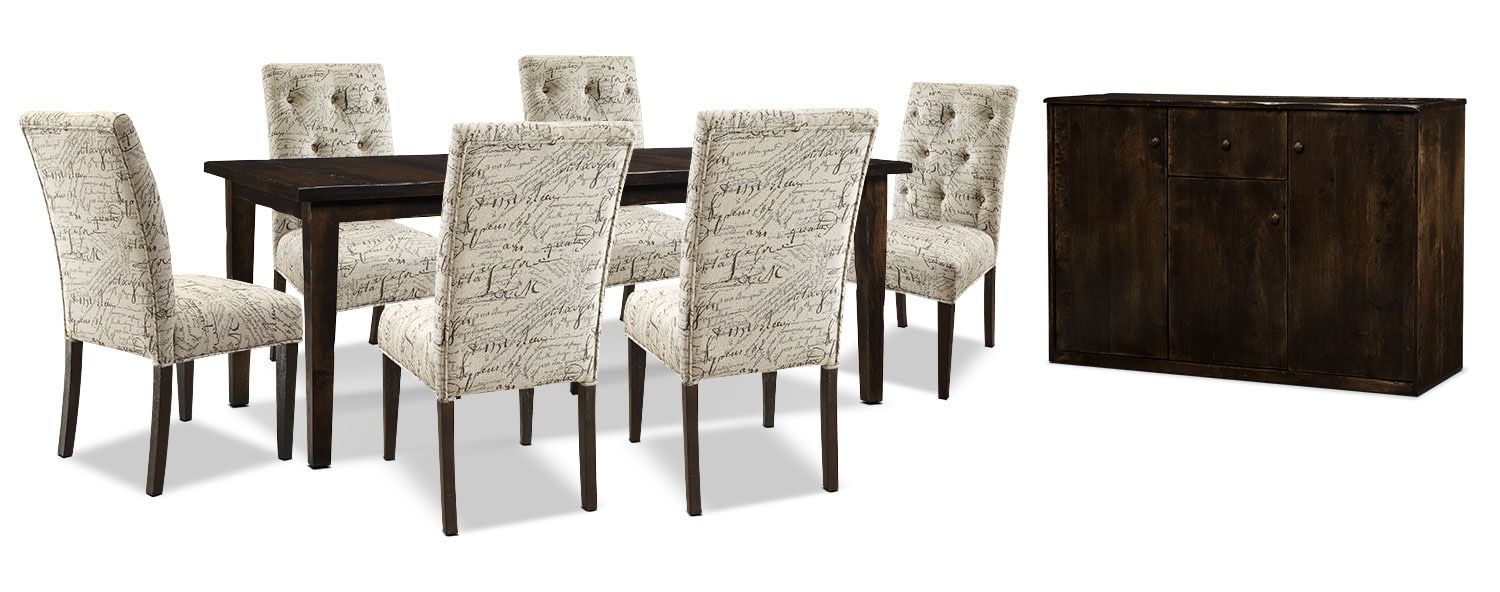 Bordeaux 8-Piece Dining Package with Script Chairs, Single-Leaf Table – Brown