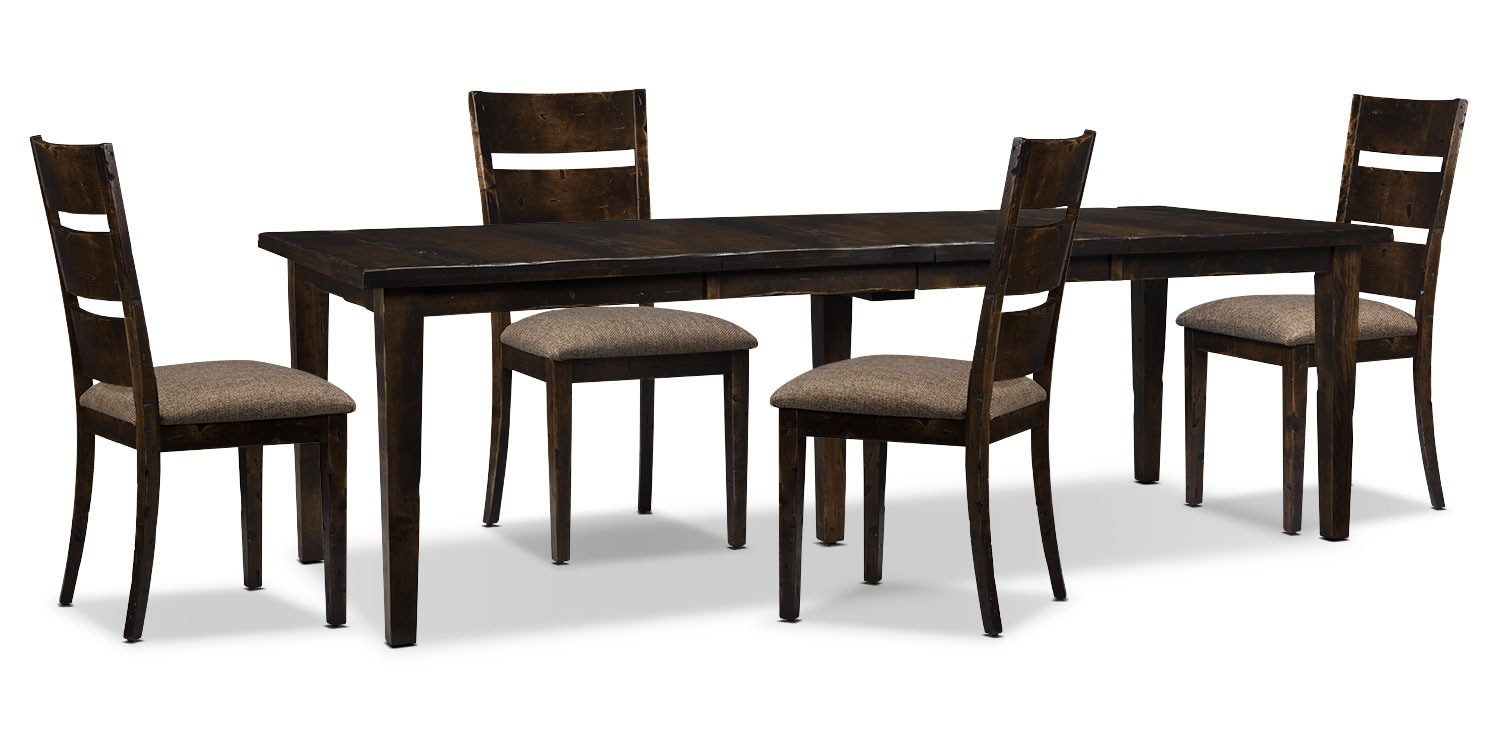 Dining Room Furniture - Bordeaux 5-Piece Dining Package with Double-Leaf Table – Brown