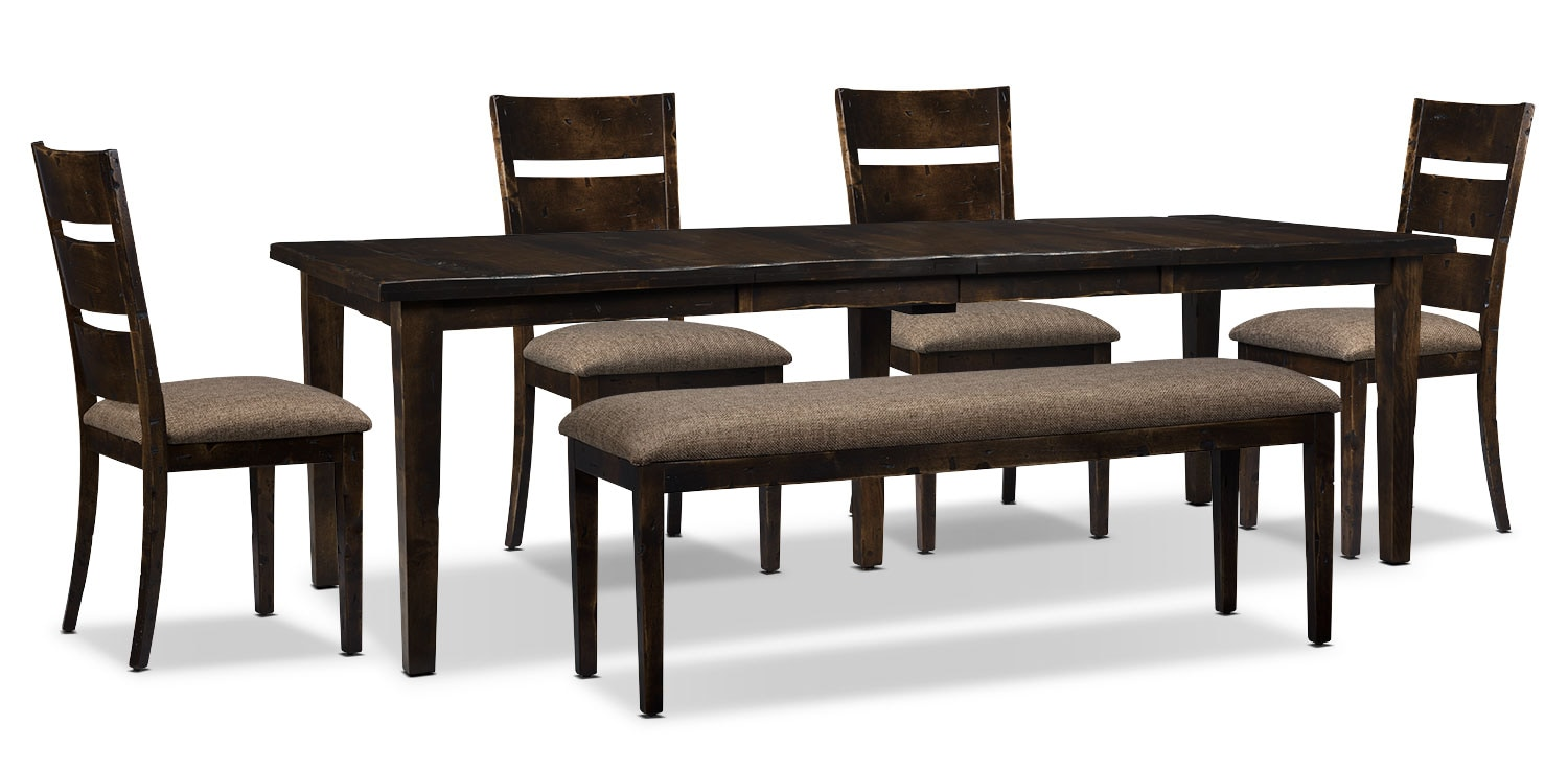 Bordeaux 6-Piece Dining Package with Double-Leaf Table – Brown