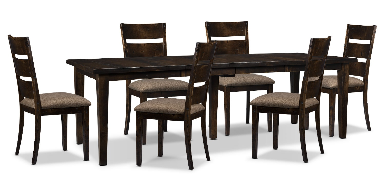 Bordeaux 7-Piece Dining Package with Double-Leaf Table – Brown