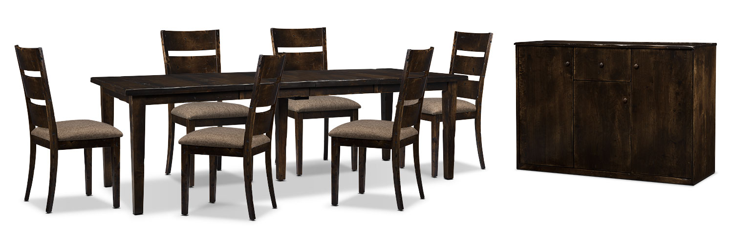 Bordeaux 8-Piece Dining Package with Double-Leaf Table – Brown