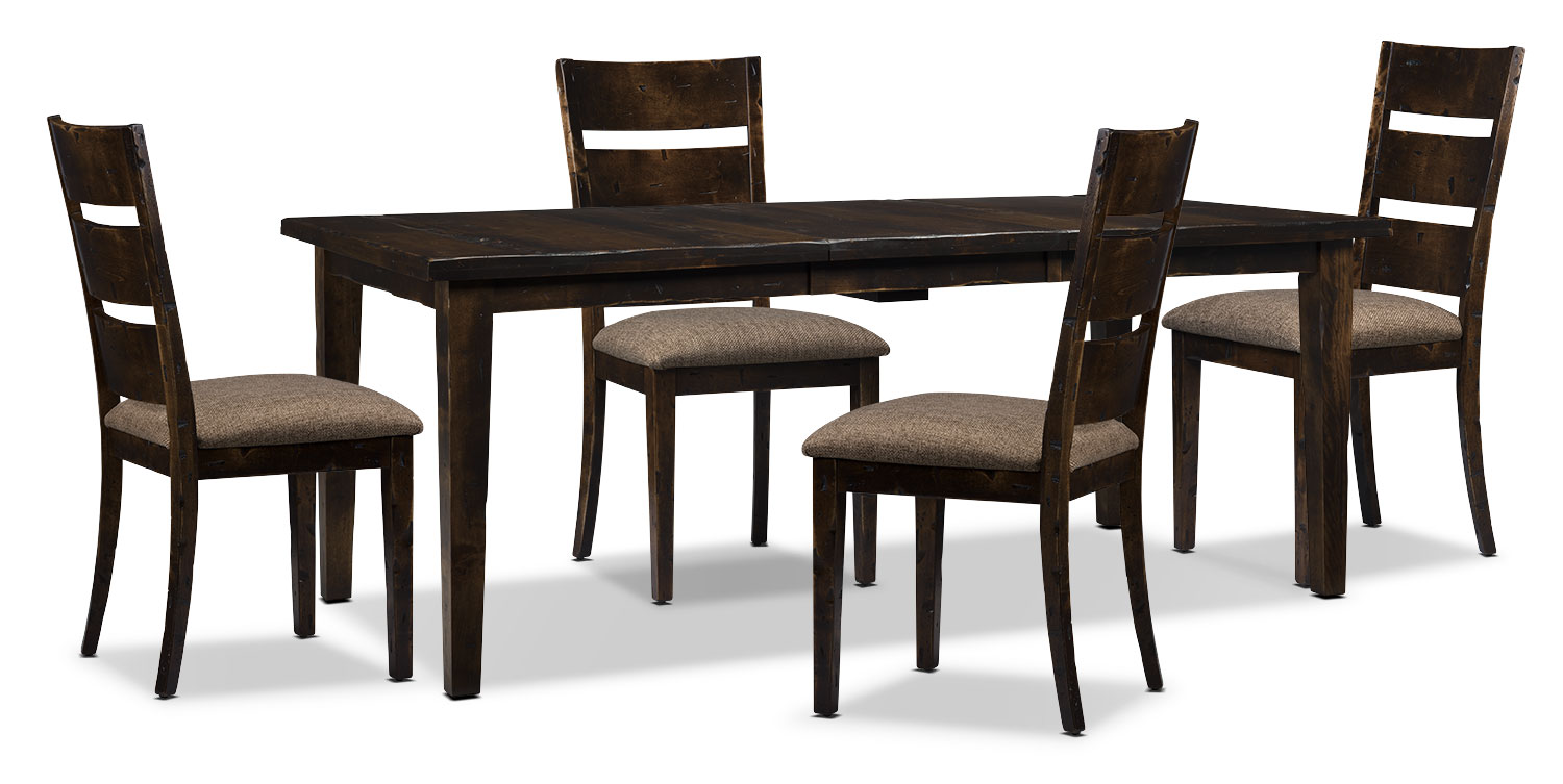 Bordeaux 5-Piece Dining Package with Single-Leaf Table – Brown