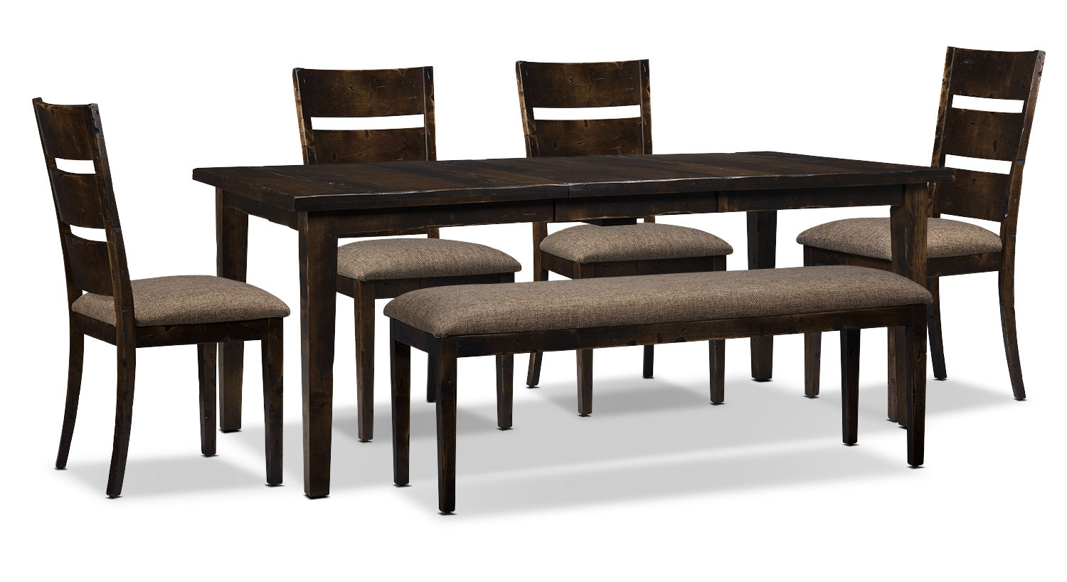 Bordeaux 6-Piece Dining Package with Single-Leaf Table – Brown