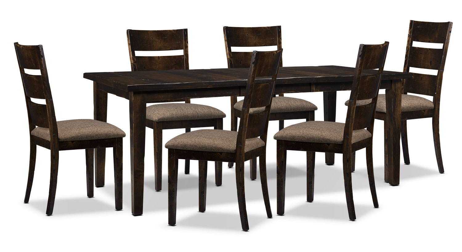 Bordeaux 7-Piece Dining Package with Single-Leaf Table – Brown