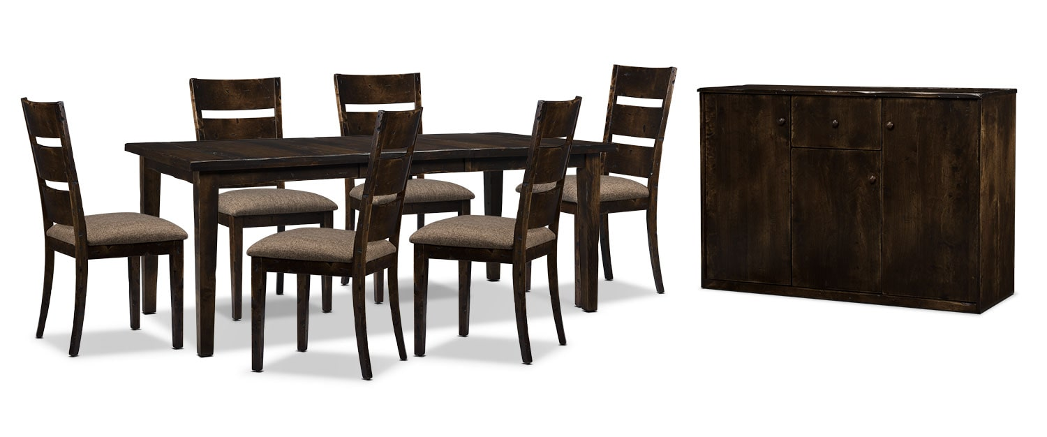 Bordeaux 8-Piece Dining Package with Single-Leaf Table – Brown