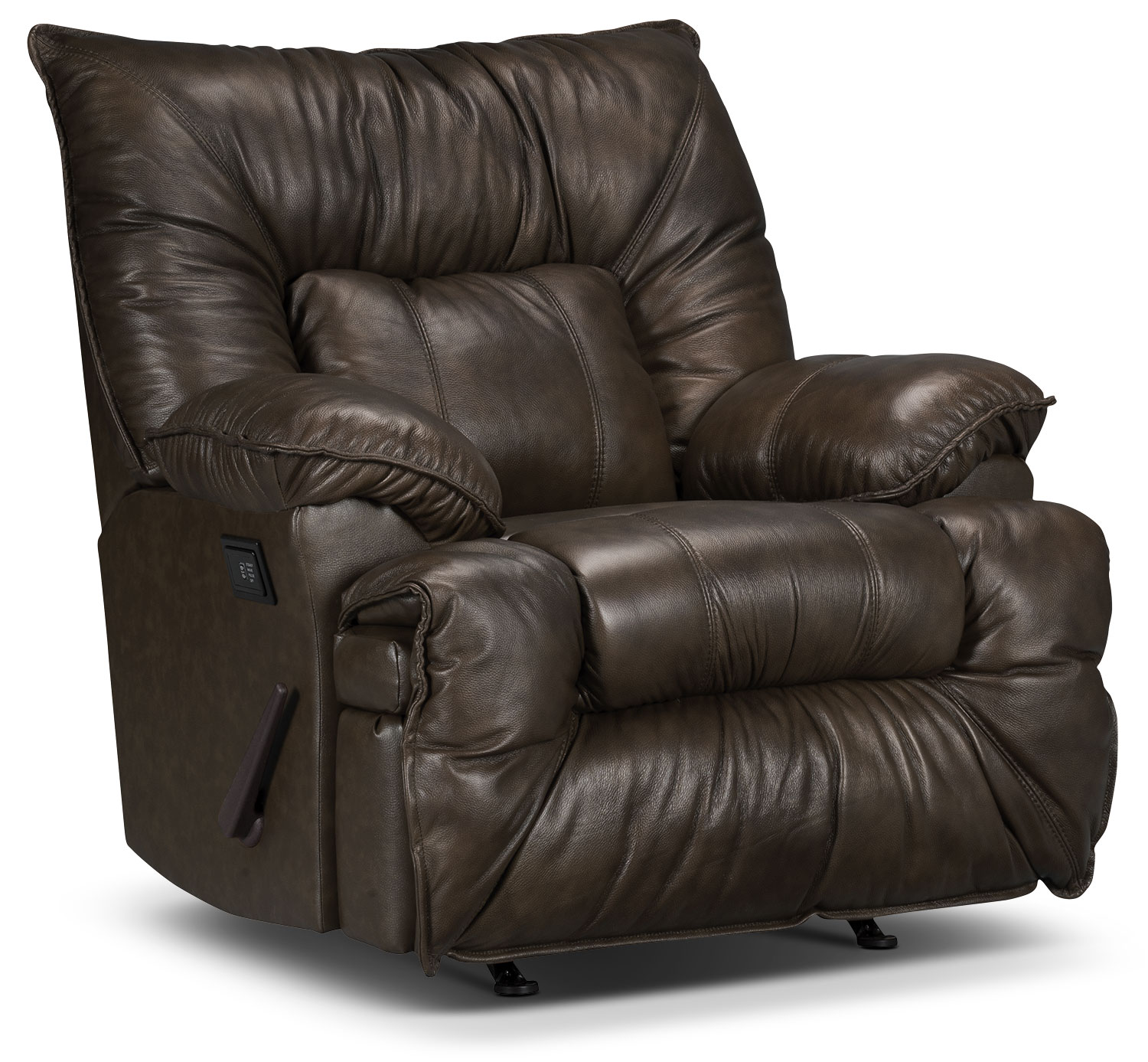 Living Room Furniture - Designed2B Recliner 7726 Leather-Look Fabric Massage Chair - Chocolate