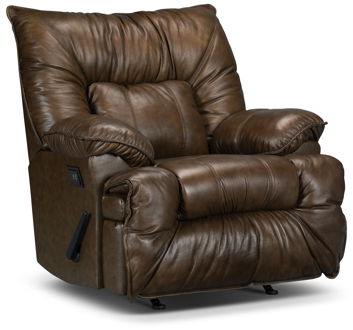 Living Room Furniture - Designed2B Recliner 7726 Leather-Look Fabric Massage Chair - Walnut