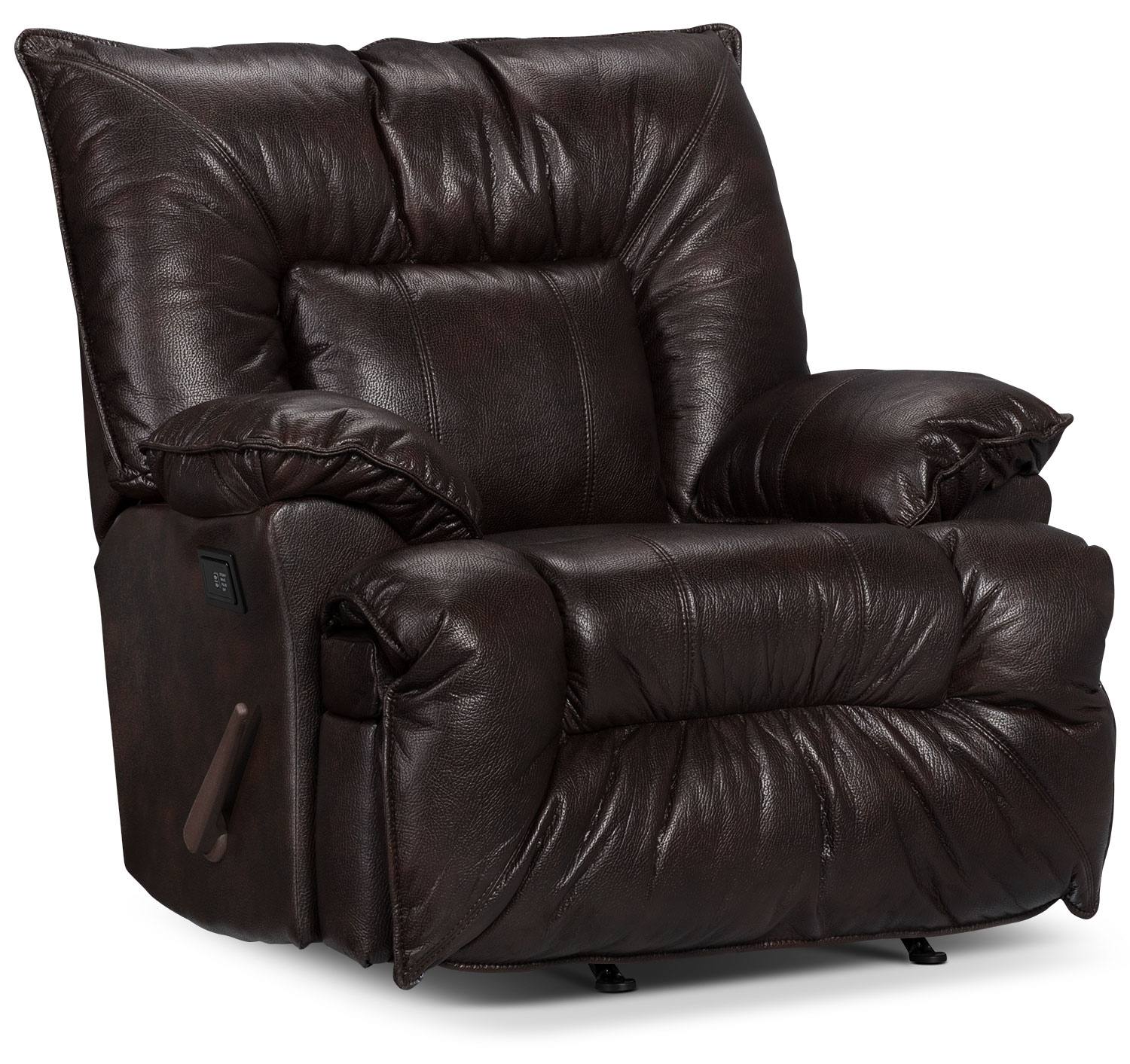 Living Room Furniture - Designed2B Recliner 7726 Leather-Look Fabric Massage Chair - Java