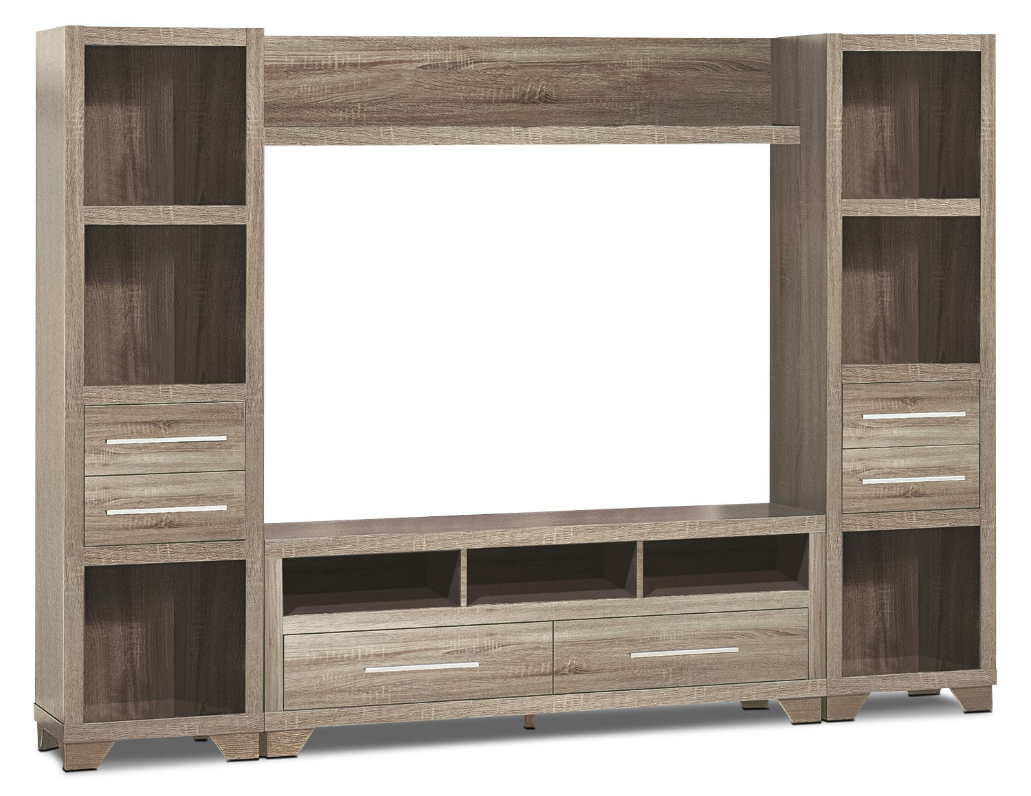 """Entertainment Furniture - Glendale 4-Piece Entertainment Centre with 60"""" TV Opening – Grey"""