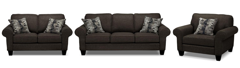 Drake Sofa, Loveseat and Chair Set - Pewter