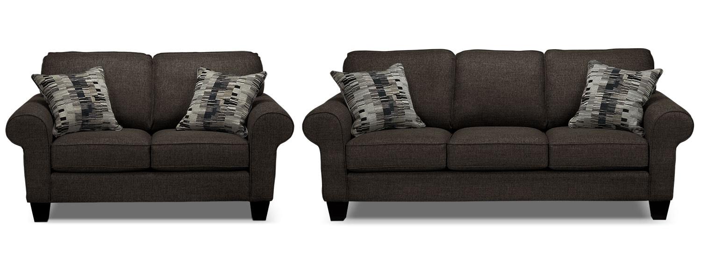 Drake Sofa and Loveseat Set - Pewter