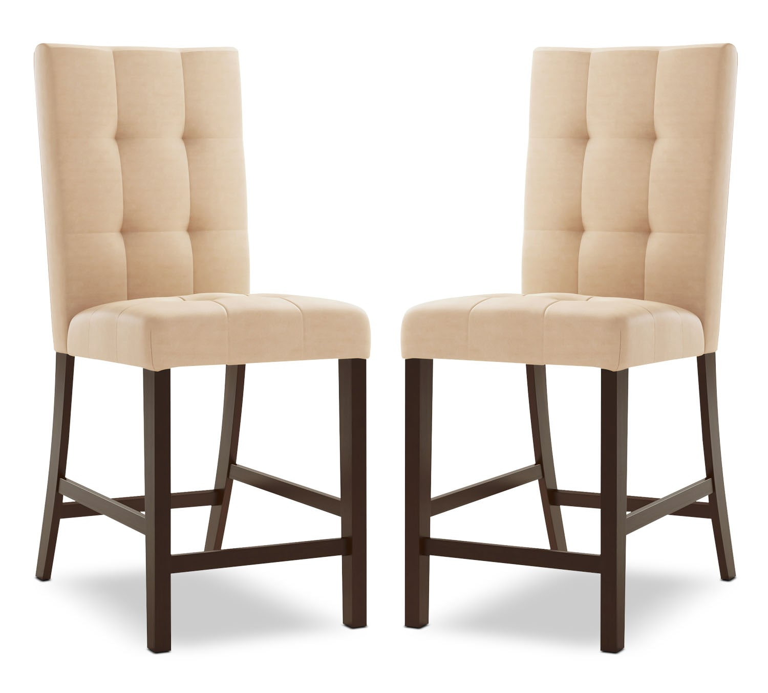 Bistro Square-Tufted Counter-Height Dining Chair, Set of 2 – Desert Sand