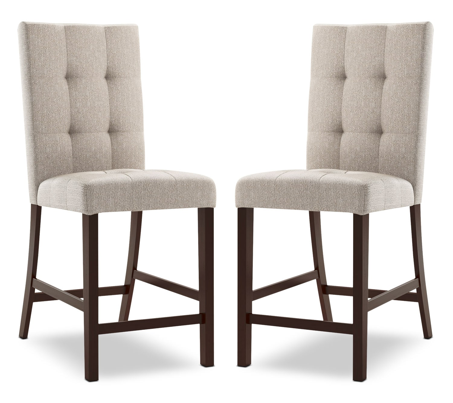 Bistro Square-Tufted Counter-Height Dining Chair, Set of 2 – Platinum