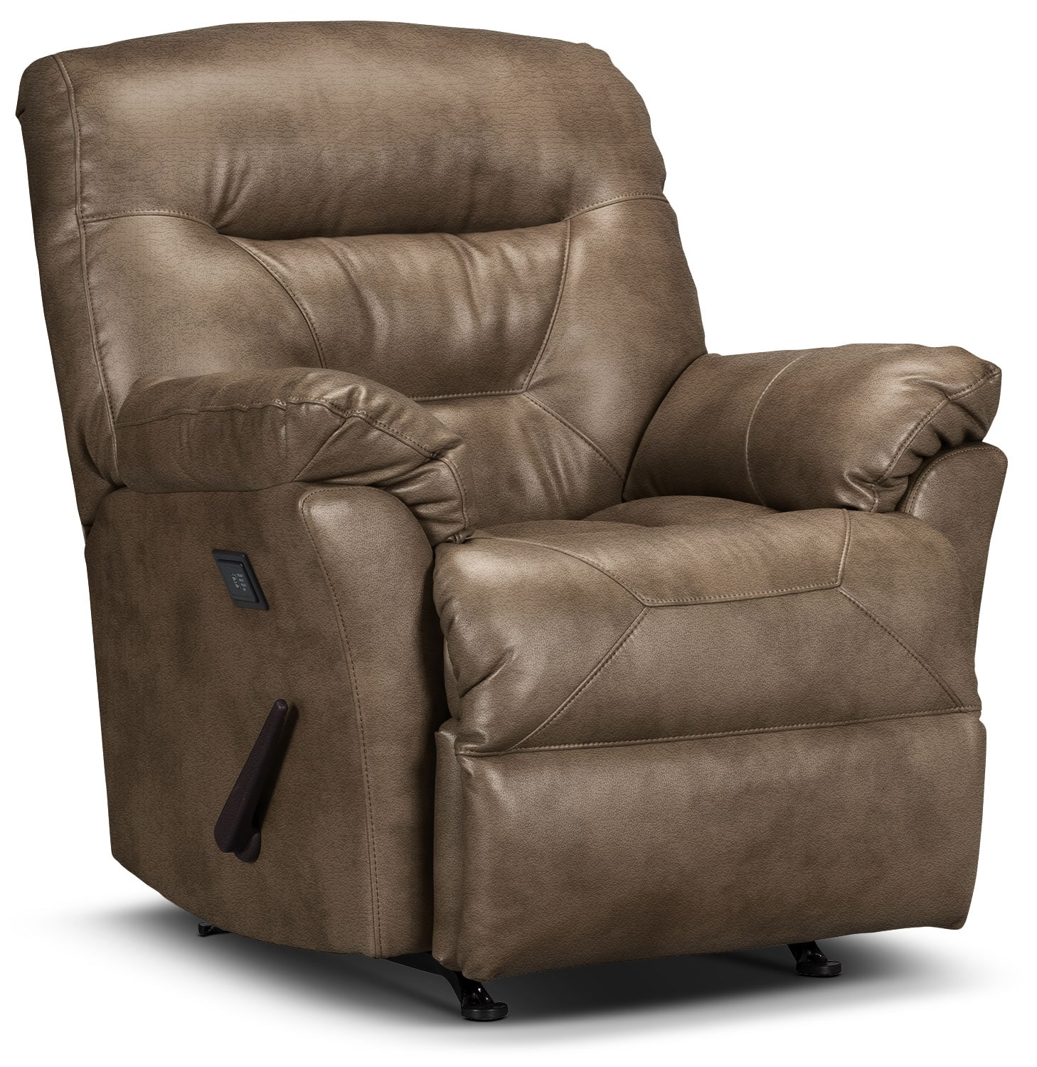 Living Room Furniture - Designed2B Recliner 4579 Leather-Look Fabric Massage Recliner - Tobacco