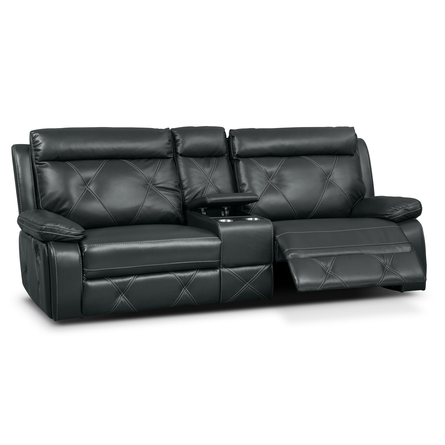 Dante 3 Piece Reclining Sofa With Console Charcoal