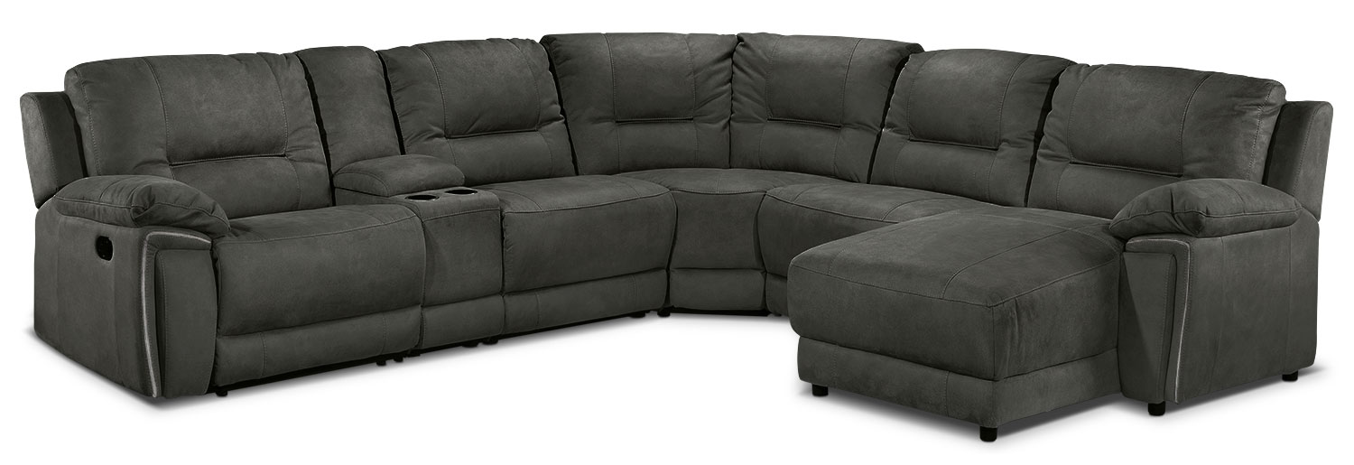 Pasadena 6 Pc. Right-Facing Reclining Sectional - Dark Grey