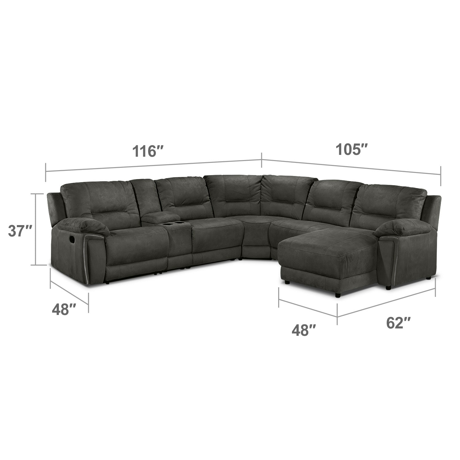 Living Room Furniture - Pasadena 6 Pc. Right-Facing Reclining Sectional - Dark Grey