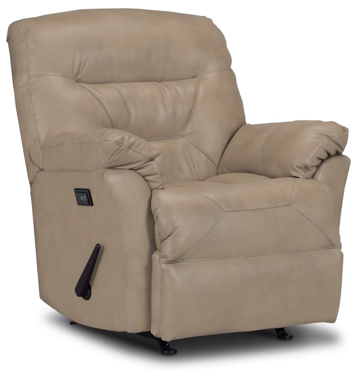 Living Room Furniture - Designed2B Recliner 4579 Genuine Leather Massage Recliner - Putty