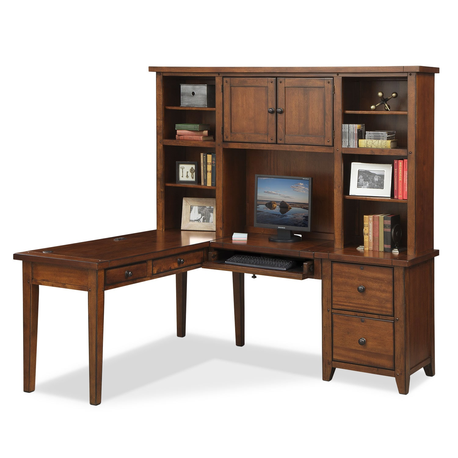 l shaped desk with hutch brown american signature furniture