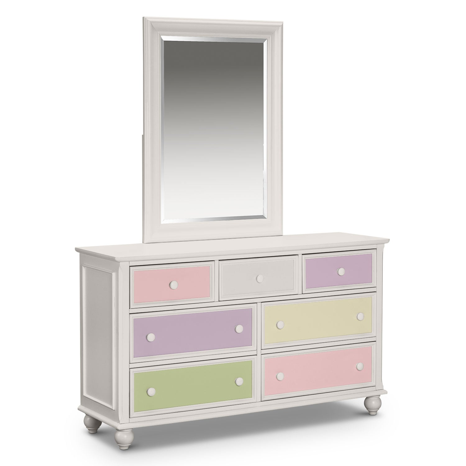 colorworks dresser and mirror white american signature furniture. Black Bedroom Furniture Sets. Home Design Ideas