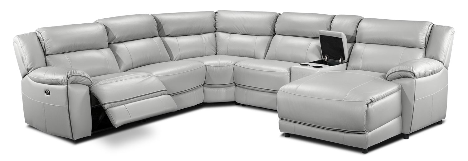Living Room Furniture - Holton 6-Piece Sectional with Right-Facing Chaise - Grey