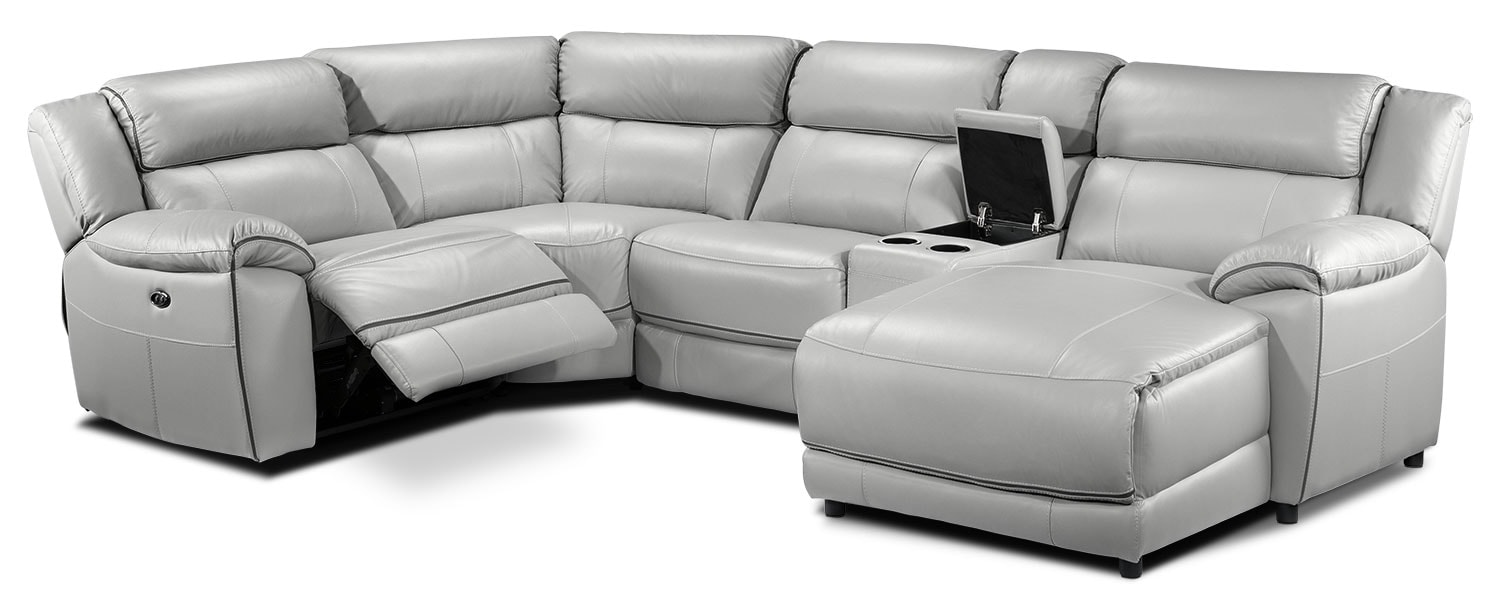 Living Room Furniture - Holton 5-Piece Sectional with Right-Facing Chaise - Grey