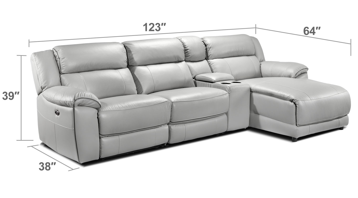 Living Room Furniture - Holton 4 Pc. Sectional - Grey