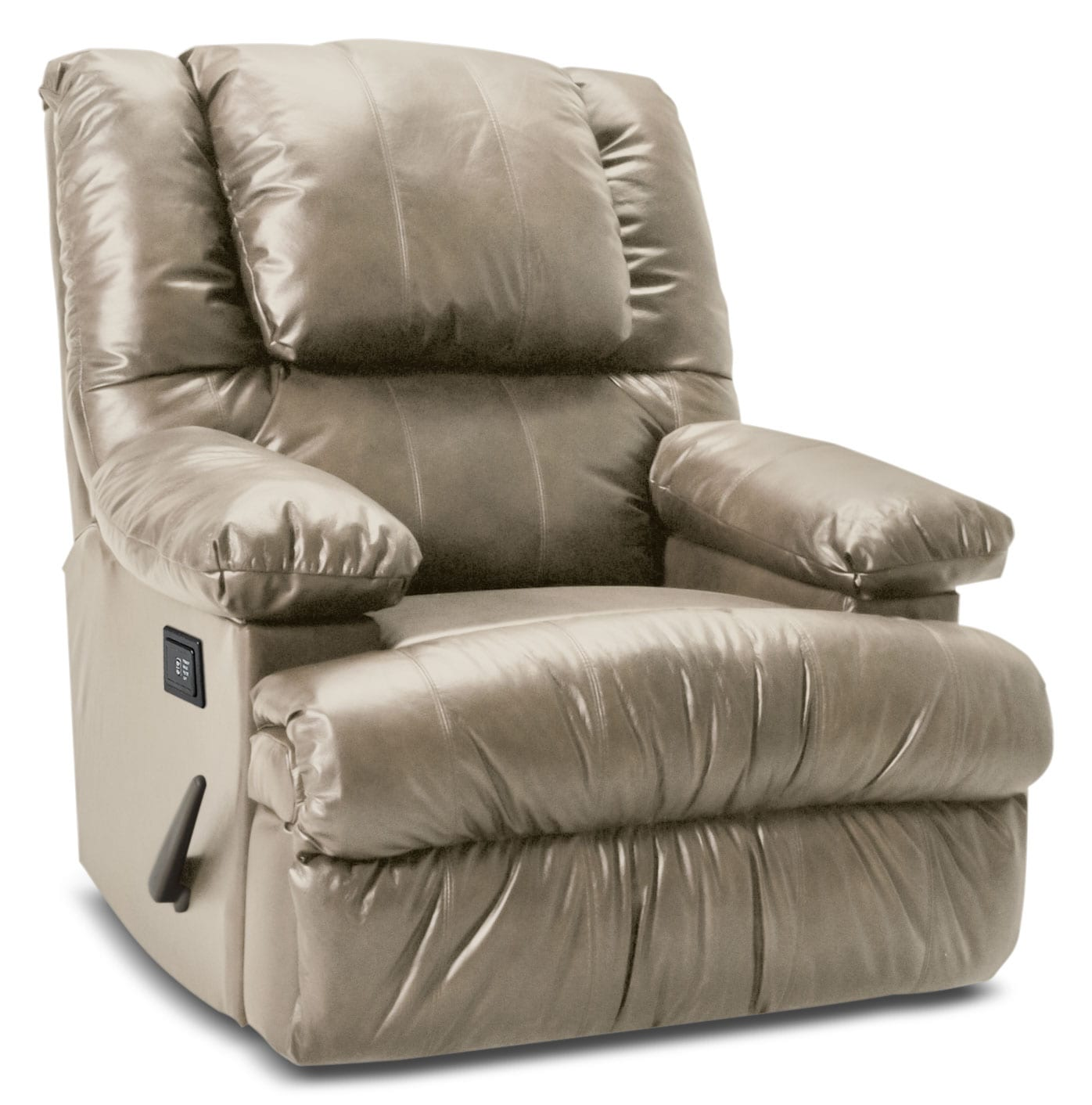 Living Room Furniture - Designed2B Recliner 5598 Bonded Leather Massage Recliner with Storage Arms - Putty