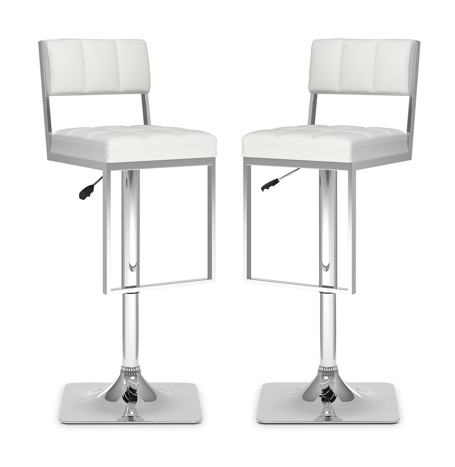 Dining Room Furniture - CorLiving Square-Tufted Wide Adjustable Bar Stool, Set of 2 – White