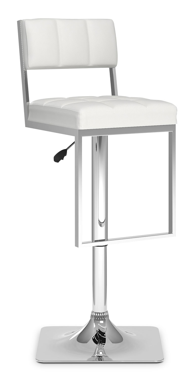 CorLiving Square-Tufted Wide Adjustable Bar Stool – White