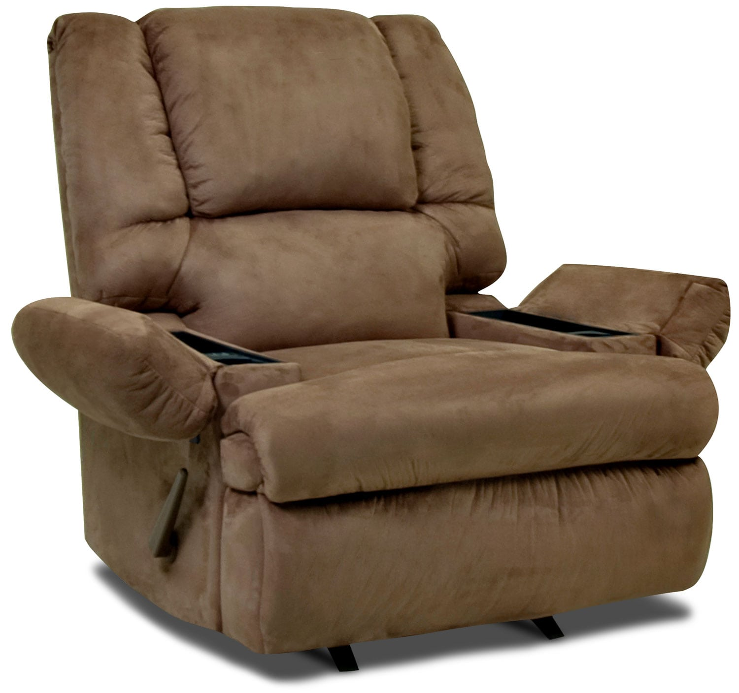 Living Room Furniture - Designed2B Recliner 5598 Padded Suede Massage Recliner with Storage Arms - Mocha