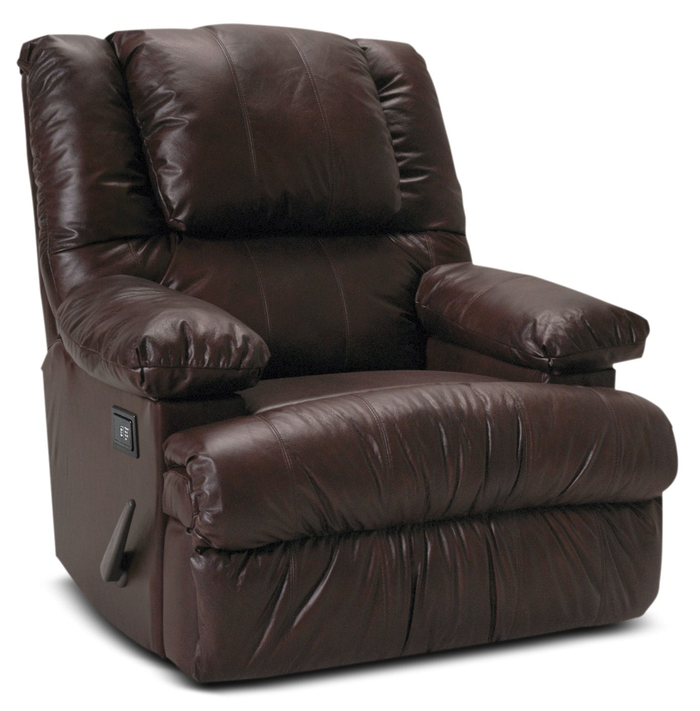 Living Room Furniture - Designed2B Recliner 5598 Bonded Leather Massage Recliner with Storage Arms - Java