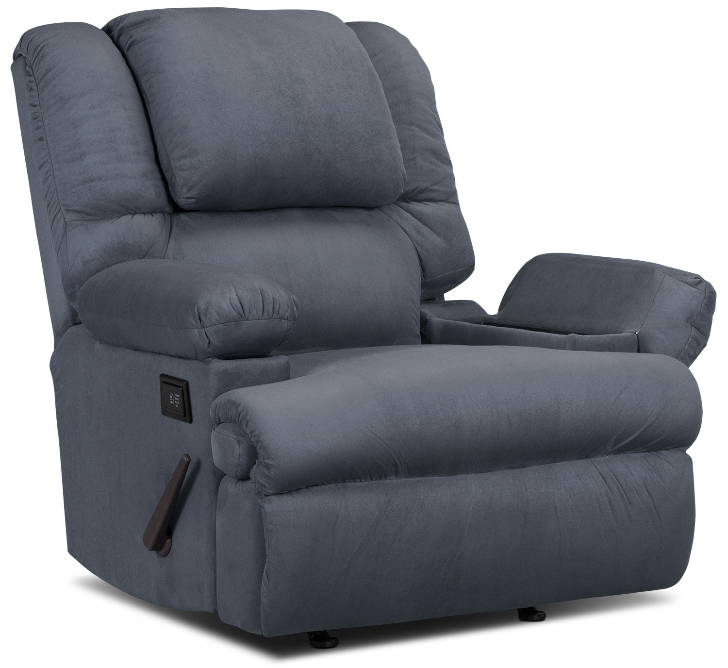 Living Room Furniture - Designed2B Recliner 5598 Padded Suede Massage Recliner with Storage Arms - Navy