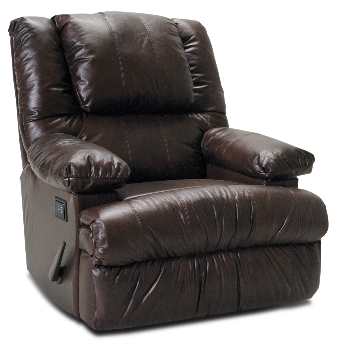 Living Room Furniture - Designed2B Recliner 5598 Genuine Leather Massage Recliner with Storage Arms - Chocolate