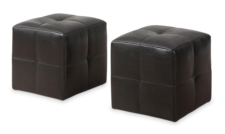 Kids Furniture - Monarch Children's 2-Piece Ottoman Set – Dark Brown