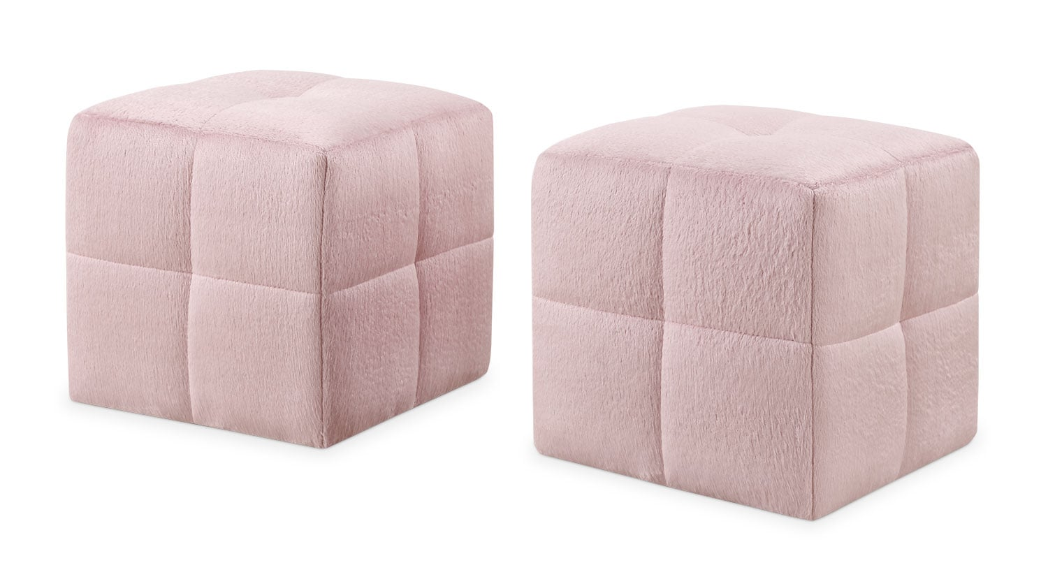 Kids Furniture - Monarch Children's 2-Piece Ottoman Set – Pink