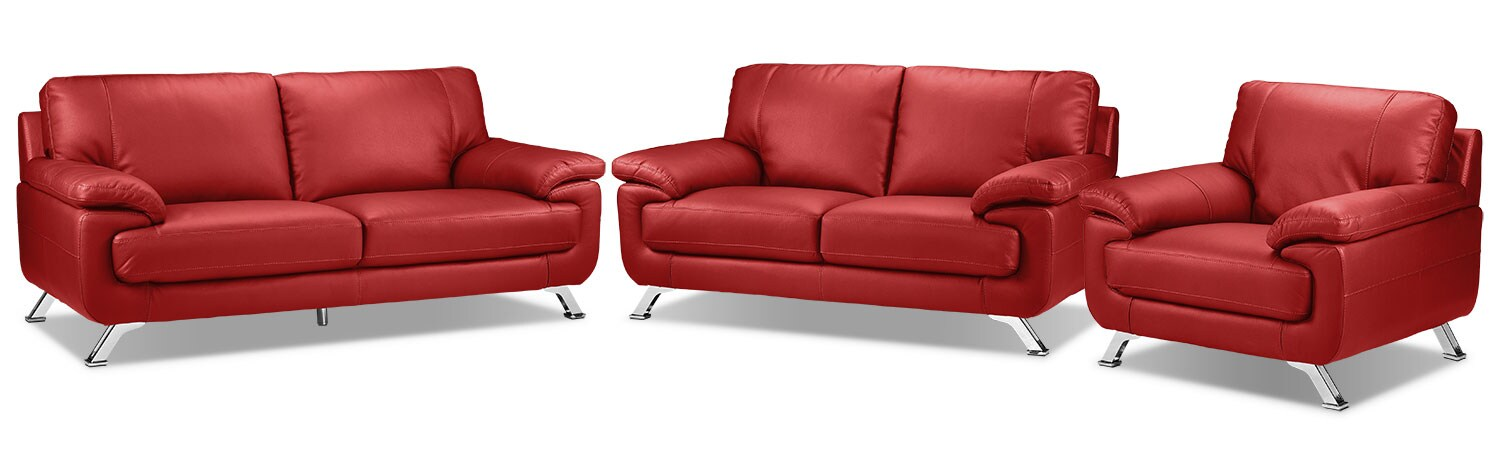 Infinity Sofa, Loveseat and Chair Set - Red