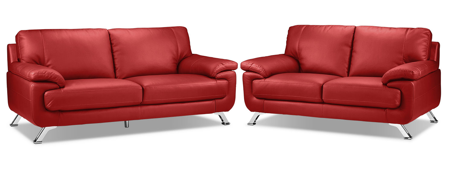 Infinity Sofa and Loveseat Set - Red