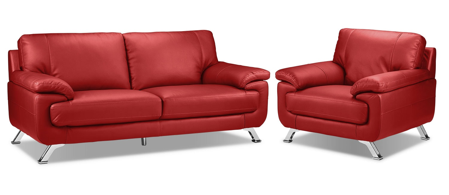 Infinity Sofa and Chair Set - Red