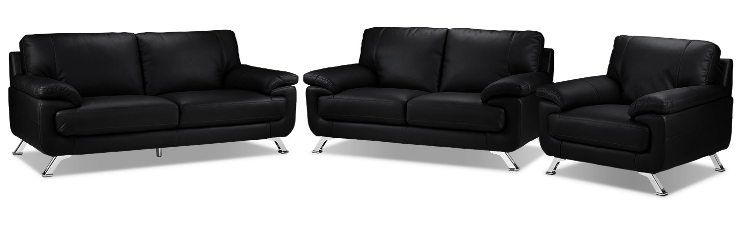 Infinity Sofa, Loveseat and Chair Set - Black
