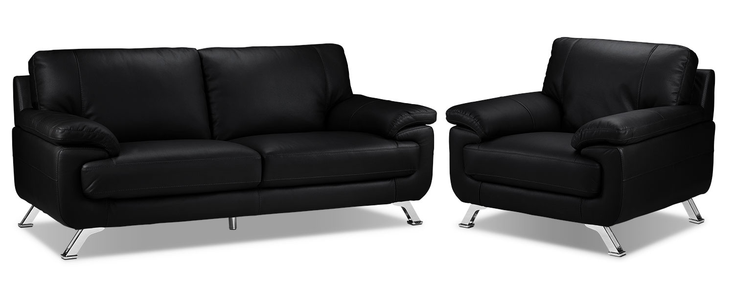 Infinity Sofa and Chair Set - Black